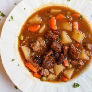 Close up of vegan beef stew in a white bowl