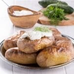 baked potatoes with sour cream