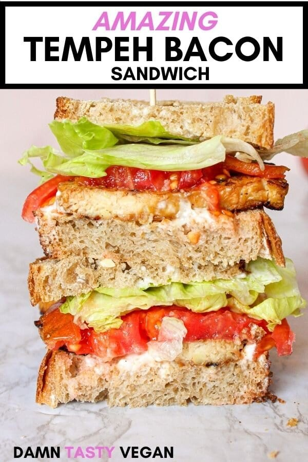 Vegan blt sandwich close up with toothpick holding it together.