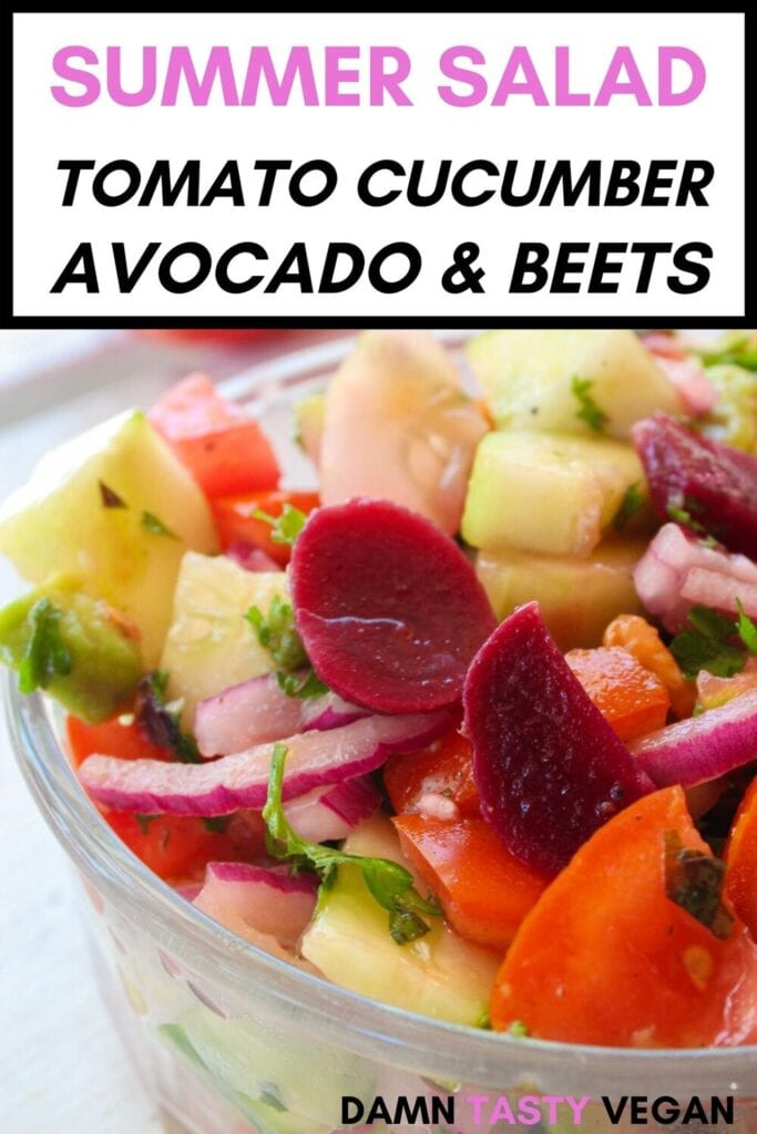 Tomato and cucumber salad with avocado image for pinterest