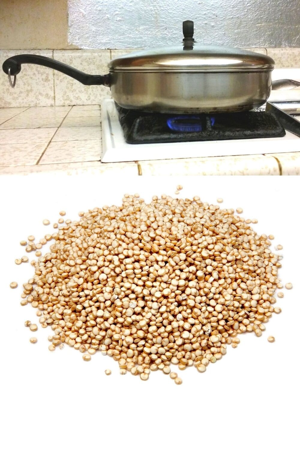Quinoa on the counter in front of a pan