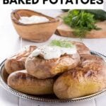 baked potatoes topped with sour cream