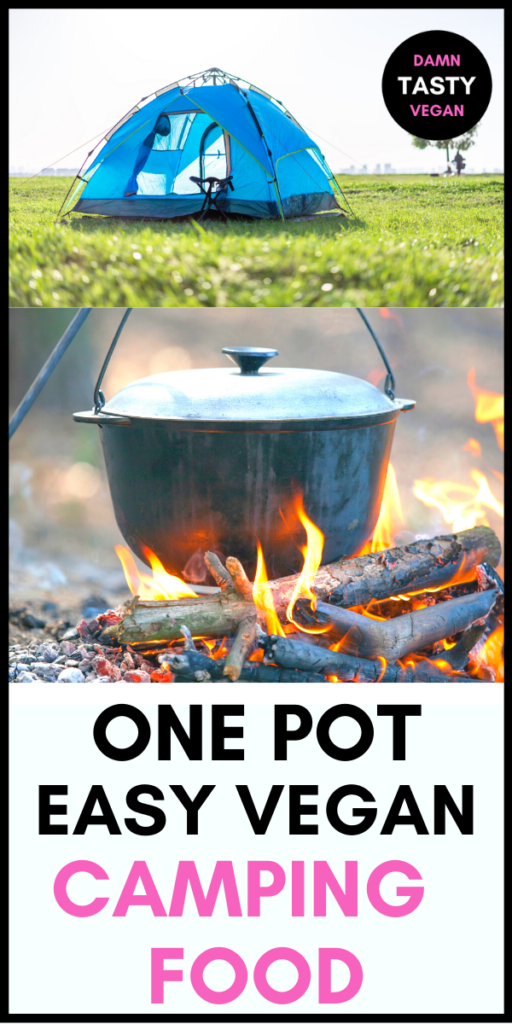 pan hanging over a fire outside with a tent in the background