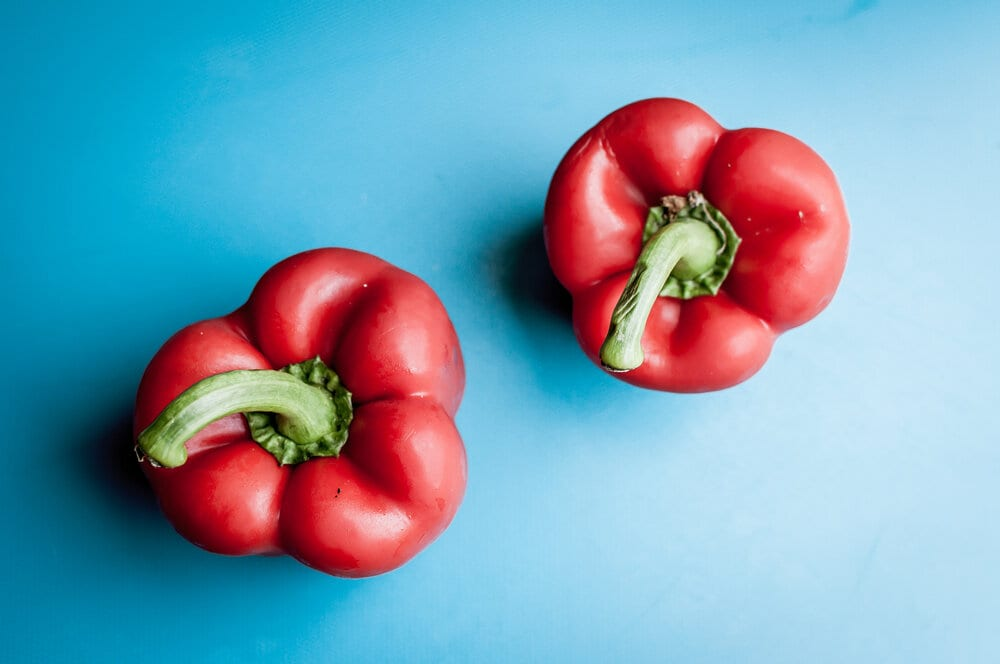Two red bell peppers