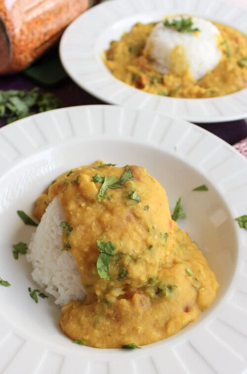 red lentils over rice in a bowl