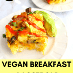 Vegan breakfast casserole on a plate with avocado