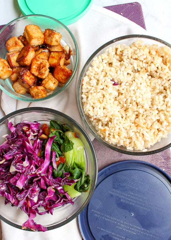 bowl of rice, cabbage, and tofu