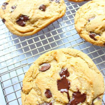 vegan chocolate chip cookies on a cooling rack