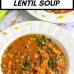 sweet potato and lentil soup in a bowl