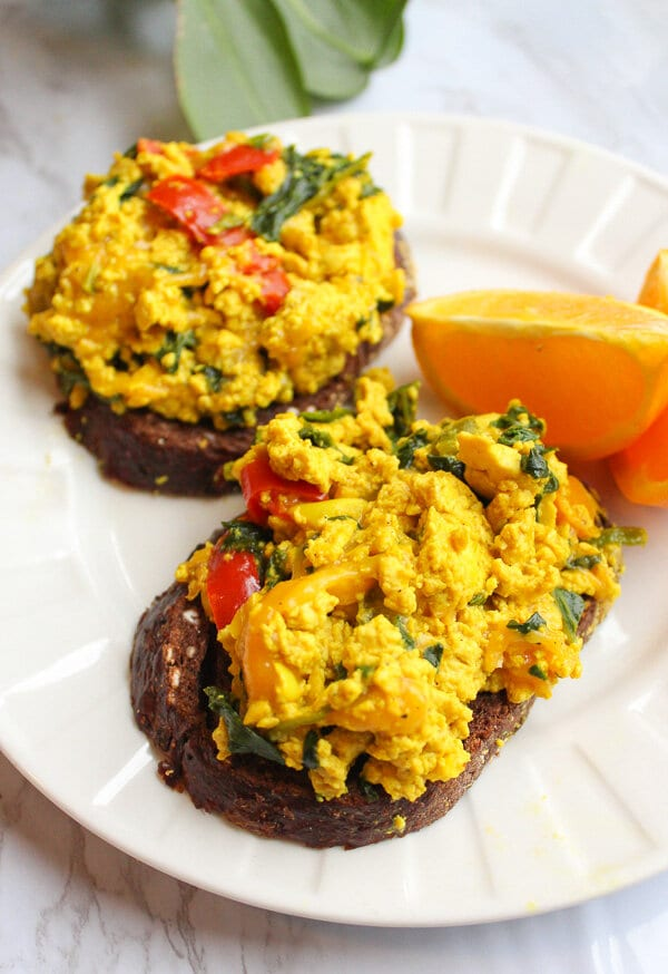 Vegan tofu scramble on toast