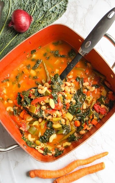 vegan minestrone soup in a large pot