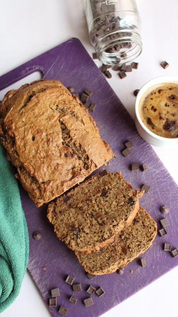Chocolate chip and peanut butter vegan zucchini bread
