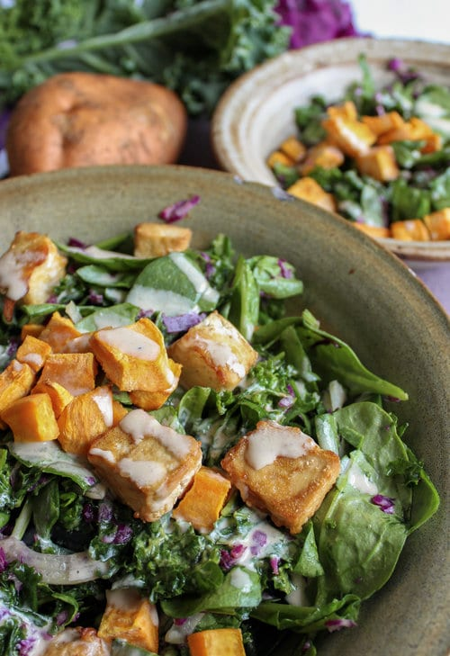 Kale and sweet potato salad with tofu