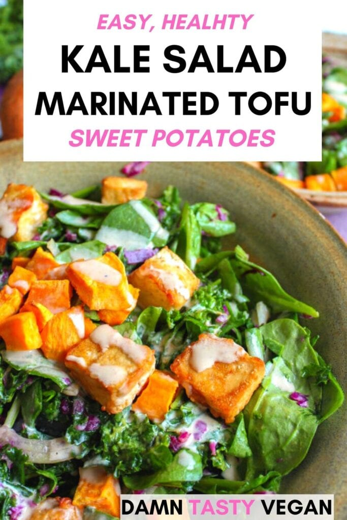 Kale salad with sweet potatoes and tofu