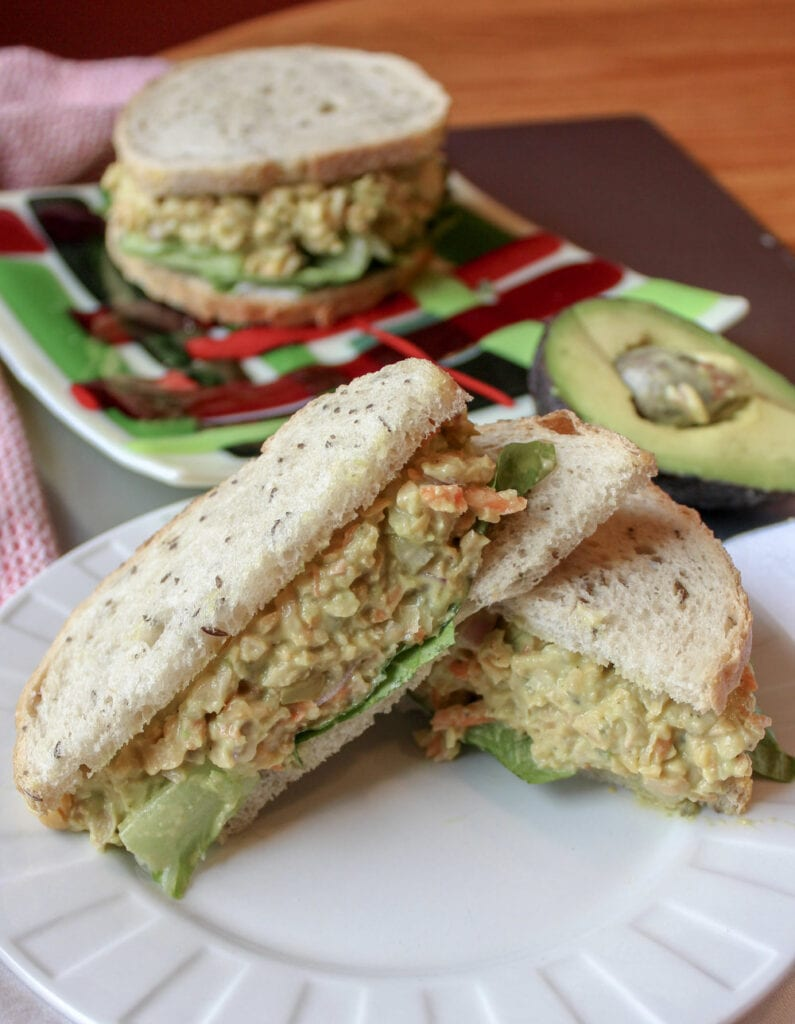 Chickpea salad sandwich on a plate