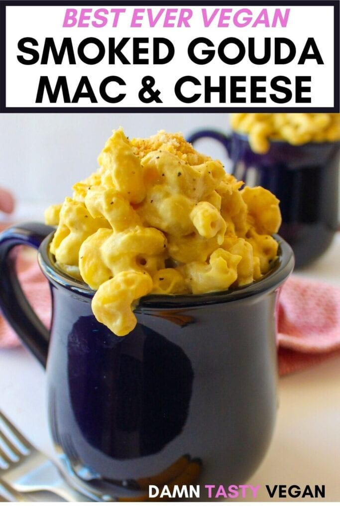 Vegan mac and cheese in a mug with text overlay for pinterest