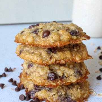stack of vegan oatmeal chocolate chip cookies