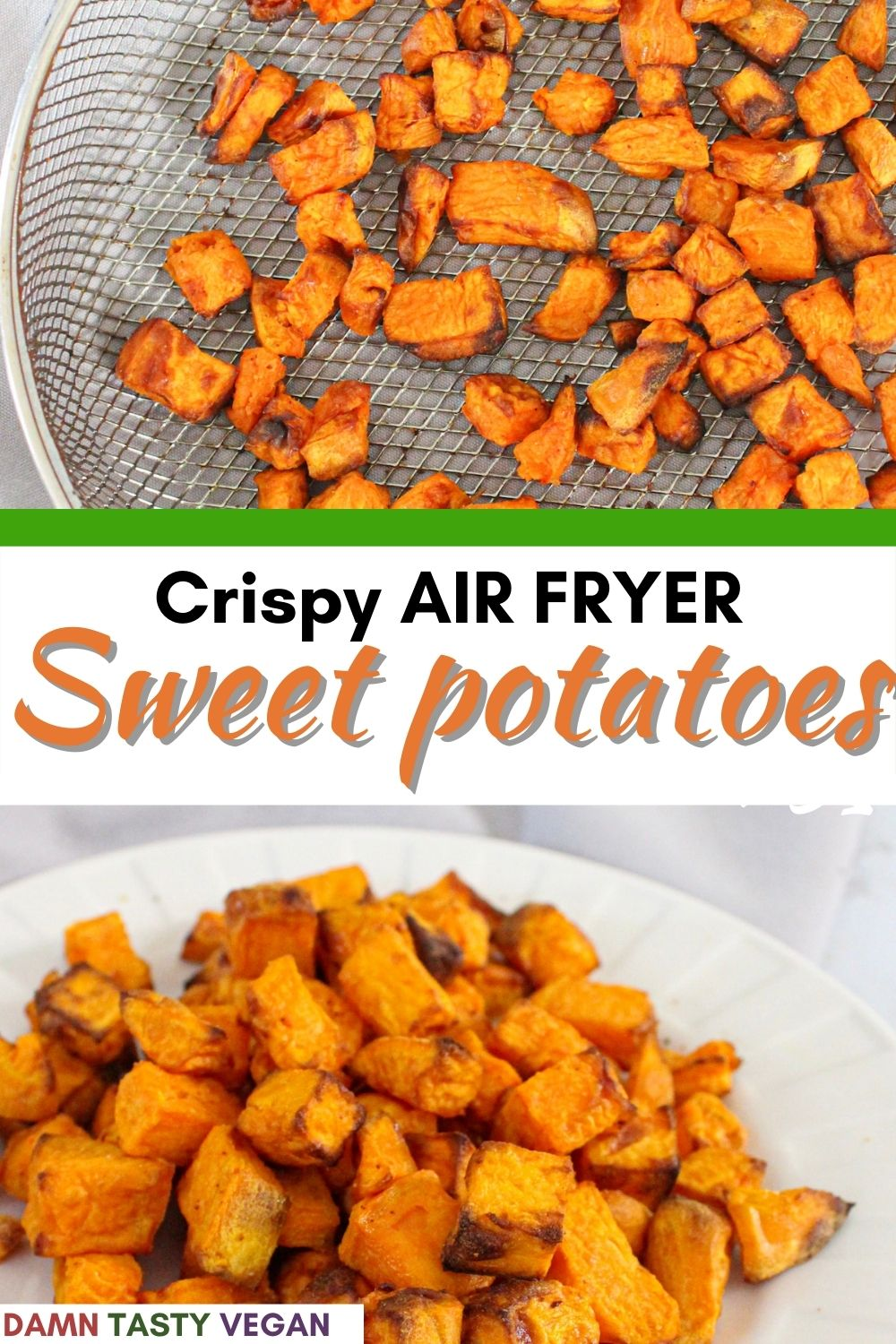 Sweet potato cubes on a plate with text overlay for pinterest.