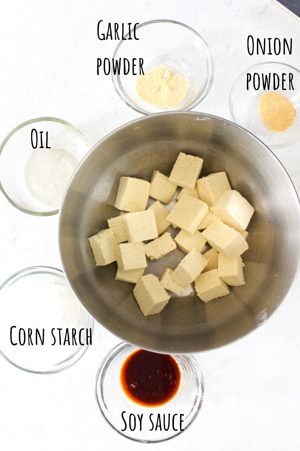 Air fried tofu ingredients laid out